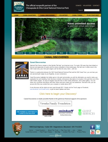 canaldiscoveries.org website design by DH WEB