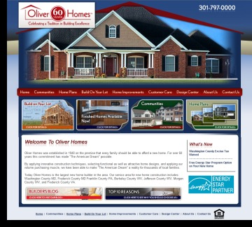 Oliver Homes Web Design by DH WEB