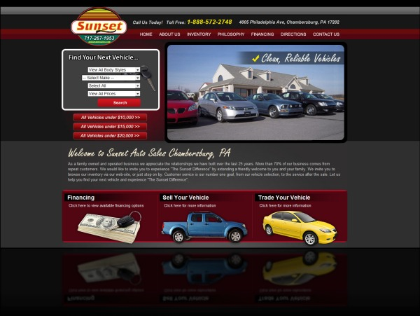 DH WEB Website Design for Sunset Auto Sales Chambersburg, PA